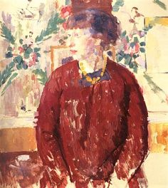 Portrait of a Woman in Red (Profile) or Lady in Red with Amber Necklace - Rik Wouters 1912 Belgian 1882-1916 Oil on canvas , 79 x 71cm.