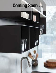 Black steel shelves. Powder-coated.  Made by .PEAM