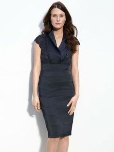 Online Sale Romantic V-neck Sheath Satin Short Sleeve Knee-length Mother of the Bride Dresses