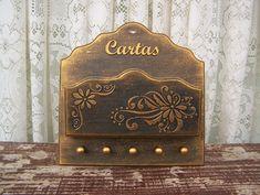 Porta Cartas e Chaves Dourado Floral