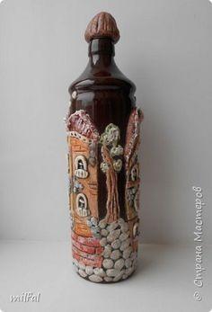 Декор предметов Лепка бутылка-домики Тесто соленое фото 3