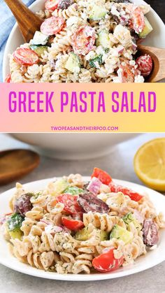 Creamy greek pasta salad recipe is made with tomatoes, cucumbers, feta cheese, dill, and a simple Greek yogurt dressing. It so delicious your friends and family will love it for sure. A perfect summer greek pasta salad you need to try! Greek Salad Pasta, Easy Pasta Salad, Pasta Salad Recipes, Healthy Salad Recipes, Soup And Salad, Chicken Salad With Fruit Recipe, Shrimp Pasta Salads, Pasta Salad With Cucumber, Dressing For Pasta Salad