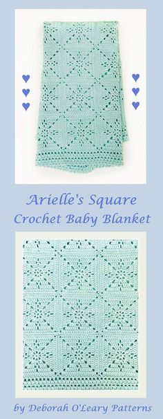 Crochet Blanket Pattern - Arielle's Square - Baby Blanket - Easy Granny Square - Crochet Throw Afghan - Pattern by Deborah O'Leary Patterns | Crochet baby blan…
