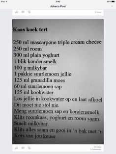 Kaaskoek Tert Milk Tart, Come Dine With Me, Milk Products, South African Recipes, No Bake Cheesecake, Cheese Cakes, Sweet Tarts, Sous Vide, Afrikaans