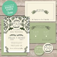 herb inspired printable wedding invitation set by freckled stationery on etsy