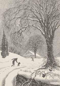 Monochrome drawing - Ellison Hoover (American, Returning Home - Winter Winter Painting, Winter Art, Winter Illustration, Illustration Art, Winter Scenery, Snow Scenes, Winter Wonder, Winter Landscape, Illustrations