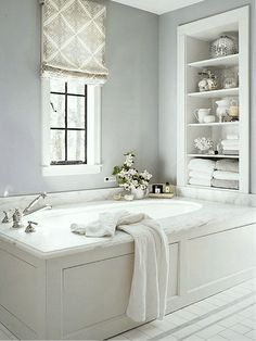 Three Decorating Trends You Need To Be Warned About | classic bathroom with pale gray walls | original source unknown