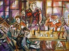 "Saatchi Art Artist David Iddon; Painting, ""Pub Life 05 - Under hand poker cheats"" #art"