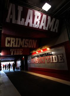 -    A view of the Alabama Crimson Tide tunnel at Bryant-Denny Stadium