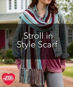 Stroll in Style Scarf Free Crochet Pattern in Red Heart Yarns - If you are learning to crochet or just want to relax while you crochet a new scarf, this is the perfect pattern. The slightly thicker weight of this yarn makes it quicker to make and has a modern look.