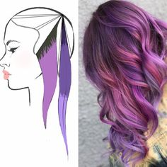 So I said I'd break down all three of these looks and here it is. Thankfully for me they're all the same placement lol so I didn't have to change the headsheet, just the color scheme :). Vivid Hair Color, Cool Hair Color, Purple Hair, Ombre Hair, Hair Color Placement, Hair Color Formulas, Different Hair Types, Hair Color Techniques, Brunette Color