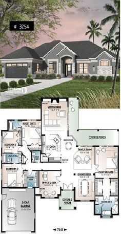 House Plans 4 Bedroom Home Large Master Suite Home Office Open Floor Plan Covered Deck Simple Floor Plans, Modern Floor Plans, Farmhouse Floor Plans, Home Design Floor Plans, Sims House Plans, House Plans One Story, One Story Homes, Story House, Master Suite Floor Plan