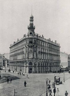 alcalá y sevilla, 1892, edificio de la equitatitva, gran esquina de madrid, foto de hauser y menet (fuente: bne)