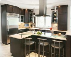 Lovely Kitchen Design with Black Barstools