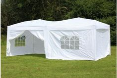10 x 20 foot Large Steel Gazebo With Sides, White | Absolute Home