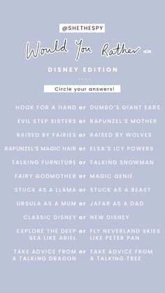 Disney Questions, Fun Questions To Ask, Random Questions, Deep Questions, Instagram Story Questions, Instagram Story Ideas, Snapchat Questions, Would You Rather Questions, This Or That Questions