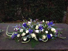#rouwbloemen #BLOM Funeral Flower Arrangements, Funeral Flowers, Floral Arrangements, Casket Sprays, Memorial Flowers, Flower Basket, Saddles, Diy And Crafts, Floral Design