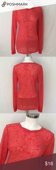 Buckle Burnout Long Sleeve Top NWOT BKE Buckle Long Sleeve Top in pretty coral / orange. Burnout style in 50% cotton and 50% polyester. Never worn but I ripped size tag when I pulled off tags. See picture of tag. Size Large. BKE Tops