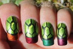 Gelic' nail art: NCC presents: simple Teenage Mutant Ninja Turtles nail art (June theme) Ninja Turtle Nails, Turtle Nail Art, Ninga Turtles, Nail Care Tips, Beauty Shop, Teenage Mutant Ninja Turtles, Beauty Nails, Nail Designs, Nail Polish