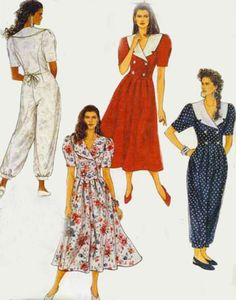 1990s Sewing Pattern McCalls 5273 Womens Double Breasted Dropped Waist Dress or Jumpsuiit Size 6 Uncut by sandritocat on Etsy