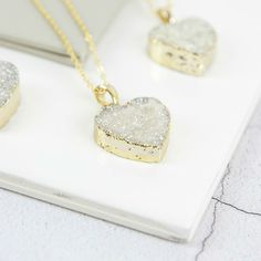 Druzy Crystal Heart Necklace | Gemstone Heart Jewellery #hearts #druzy #weddings