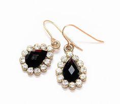 Black Sparkly Rhinestone Earrings, Clear Rhinestone Drop Earrings, Dangle Drop Earrings, Rhinestone Drop Pierced Earrings (c1980s) - Wedding by GillardAndMay on Etsy