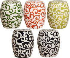 Garden Stools - love colors! @Kay Etheridge Brown----you need these for your new patio!