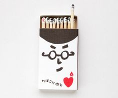 For a rainy bored day! Quirky Cute Individually Hand-Stamped Kokeshi Matches.  NamedKokeshi Matchesafter the familiarJapanese wooden dolls, the match faces started off being drawn by hand, then updatedinto stamps for more massive production  I could see a theme of • facial expressions • animals • colors • letters of the alphabet (English, russian, Greek, sign language, Intntl Phonetic)