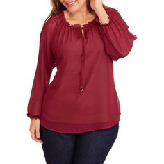 Glamour and Co. Women's Plus-Size Long Sleeve Peasant with Tie Front - Walmart.com