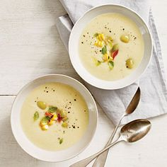 Chilled Butter Bean Soup with Basil-Corn Relish | MyRecipes.com #myplate #vegetables