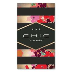 Chic Black and Gold Floral Striped Interior Design Business Card Templates