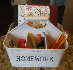 Top Ten Homework Station Ideas and Link Party - I'd love to find an organizer like this Homework Caddy, Homework Center, Homework Area, Homework Organization, Back To School Organization, Kids Homework, Homework Station, School Supply Caddy, Snack Station