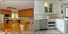 Beautiful kitchen makeover.  Tutorial shows you how to paint cabinets and spray paint hinges in nickel finish for an extra special touch!
