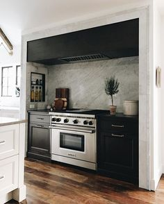 Black cabinets in the kitchen