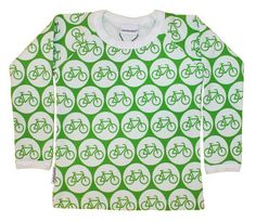 Metsola long sleeved top GREEN BIKES – funky little people - quality Scandinavian organic kids clothes, gifts and Moomin products