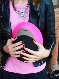 Rainy Saturday. More at weareatlove.com/... #rain #saturday #zara #leather #skirt #pink #sweater #boots #italy #padua #padova #blog #fashionblog #fashion #style #black #outfit