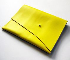 Smooth Leather Clutch in Yellow / designed by Scabby Robot