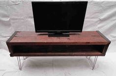 5 ft Industrial media console tv stand from old barnwood with hairpin legs// this is awesome. Living Furniture, Furniture Sale, House Furniture, Furniture Ideas, Hifi Stand, Reclaimed Barn Wood, Pallet Wood, Metal Trim, Wood Slab