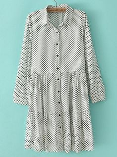 White Lapel Long Sleeve Polka Dot Pleated Dress zł97.10