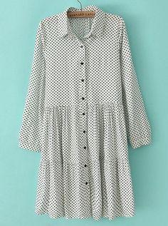 White Lapel Long Sleeve Polka Dot Pleated Dress zł97.10