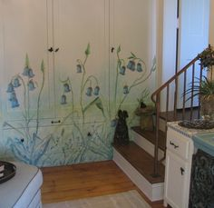 Flower mural on built-ins