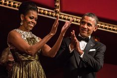 U.S. President Barack Obama and First Lady Michelle Obama (C) attend the Kennedy Center Honors at the Kennedy Center