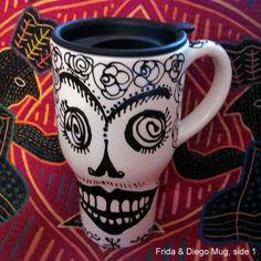 Frida & Diego Skull Travel Mug for Day of the Dead by pattymara, $25.00