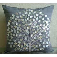 Silver Hope Tree - Throw Pillow Covers - 16x16 Inches Silk Pillow Cover with Mother Of Pearl & Silver Leather Embroidery