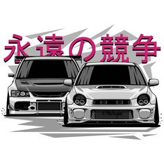 'Impreza STI vs Lancer Evolution' Poster by OlegMarkaryan Subaru Wrx, Volkswagen R32, Mitsubishi Lancer Evolution, Car Illustration, Japan Cars, Car Drawings, Automotive Art, Car Tuning, Jdm Cars