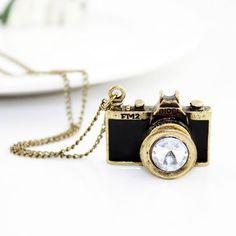 Vintage Black Camera Necklace