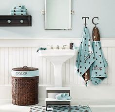 I think the letter hooks are a great idea for a shared bathroom.