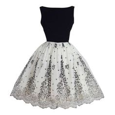 Vintage 1950s Black And White Flocked Chiffon Party Dress Liked On Polyvore Featuring Dresses