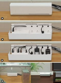 Power strip box to hide cables. i need this in my life! now if only it had a surge protector and power saving things like my current outlet thingy. Hide Cable Box, Hide Cables, Hide Tv Wires, Tv Wall Design, Cord Organization, Home Hacks, Hacks Diy, Smart Home, Power Strip