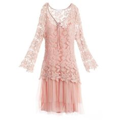 Pink Long Sleeve Floral Crochet Top Gathered Tulle Dress ($81) ❤ liked on Polyvore